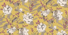 Beatrix Acacia (W354/03) - Romo Wallpapers - A stunning, finely printed floral design with brightly coloured backgrounds - Showing in Acacia. Printed on a wide width, non-woven ground for easy installation. Please request a sample for true colour match.