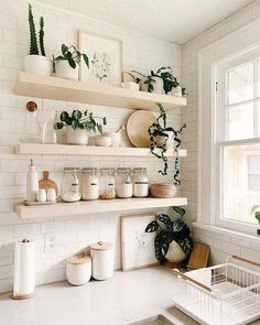 Home Decor Kitchen, Kitchen Interior, Home Kitchens, Bohemian Kitchen Decor, White Kitchen Decor, Plants In Kitchen, White Home Decor, Studio Apartment Kitchen, Kitchen Countertop Decor
