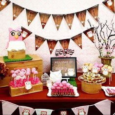 Owl themed baby shower dessert table!  See more party planning ideas at CatchMyParty.com!