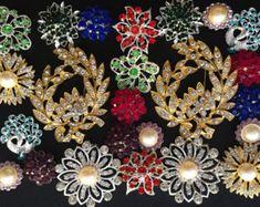 24 piezas estilo vintage lote Venta por mayor cristal diamantes de imitación mezclan color botón broche novia ramo la decoración DIY kit BR674