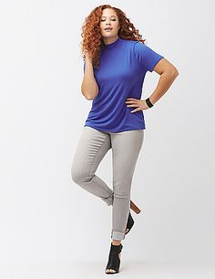 Deliciously soft and endlessly versatile, our smooth-knit mock neck tee is a forever favorite. Short sleeves. lanebryant.com