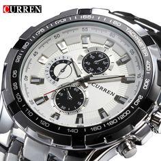 6d0d6540096 todo em aço inoxidável 2016 Marca Relógio de luxo dos homens de negócio de  quartzo Casual