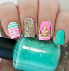 Top 150 Anchor Nail Art Designs , The second part Anchor Nail Designs, Nautical Nail Designs, Anchor Nail Art, Nautical Nails, Nail Art Designs, Nautical Anchor, Hair And Nails, My Nails, Cruise Nails