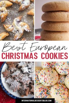 Tired of sugar cookies? These 10 easy classic European Christmas cookie recipes are sure to become family favorites -- any time of year! These fun homemade cookies are perfect for kids, a cookie exchange, a holiday party, office party or a holiday gift. New Year's Desserts, Christmas Desserts Easy, Cute Desserts, Christmas Cooking, Christmas Treats, Winter Desserts, Vegan Christmas, Christmas Cupcakes, Christmas Candy
