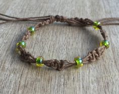 Green Beaded Anklet, Brown Anklet, Hemp Anklet, Macrame Anklet, Hemp Bracelet HA001049