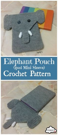A cute elephant iPad mini sleeve crochet pattern