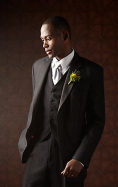 Sleek and stylish, dress the #groom up in a Calvin Klein Shadow Stripe Two-Button Super 100s Notch Lapel #Tuxedo.