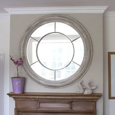 White Washed Round Mirror