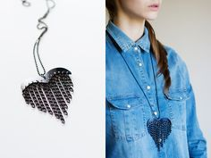 heart & chains necklace in black