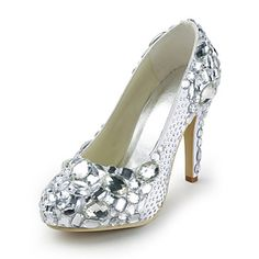 Satin Stiletto Heel Closed Toe Pumps With Crystal Wedding Shoes (More Colors) – USD $ 199.99