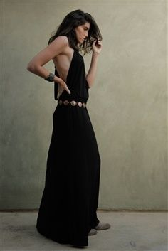 Sexy backless boho maxi, paired beautifully with metal belt and boots.