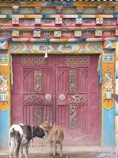 Dark pink doors. Colorful doorway. Tibet