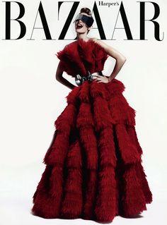 Harper's Bazaar UK August 2012. Photographed by Paola Kudacki. Dress: Alexander McQueen.