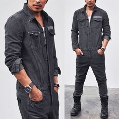 Bottoms :: Jeans :: Workwear Vintage Denim Jumpsuit-Jeans 97 - Mens Fashion Clothing For An Attractive Guy Look