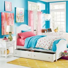 Lola Twin Panel Bed - such pretty bright coral and aqua colors in this room!