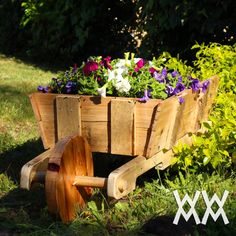 Wooden wheelbarrow made from free pallet wood.