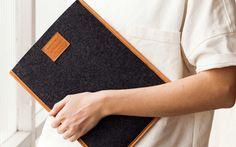 Joshu+ Vela Merino Wool felt and leather Laptop Sleeve (Tan) 13 inch MacBook Air