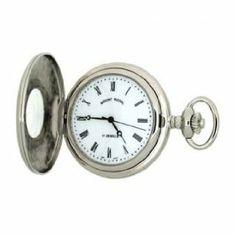 Mount Royal - Chrome Plated Half Hunter Quartz Pocket Watch - B9Q - (WW1193) - 4.4cm diameter x 0.9cm depth Mount Royal. $125.00