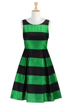 "Stripe Dupioni Dresses, Holiday Dresses Plus Size ""Shop women's fashion dresses   Womens designer dresses   Women's Long Dresses     eShakti..."
