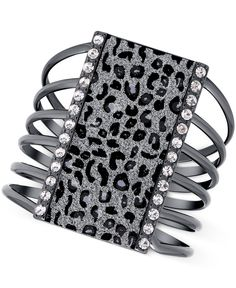 Guess Hematite-Tone Cut Out Bracelet with Clear Crystal and Leopard Print Glitter Accents