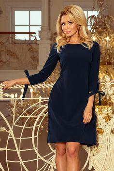 Numoco ALICE Dress with bows - navy blue Elegant Midi Dresses, Formal Dresses, Dress With Bow, Lapis Lazuli, Women's Fashion Dresses, Tutu, Cold Shoulder Dress, High Neck Dress, Clothes For Women