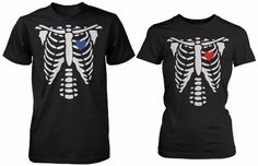 Buy Skeleton X-Ray Hearts Matching T-Shirts for Couples - Halloween Horror Shirts in Cheap Price on m.alibaba.com