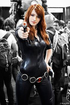 "Stunning ""Black Widow"" costume made by a fan of ""The Avengers""."