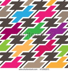 Houndstooth Seamless Pattern. Modern Mix of Repeated Colorful Shapes. Vector Background for Textile Design