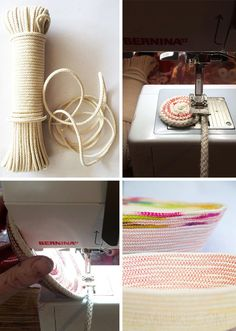 With a sewing machine, this beautiful coil basket uses zig zag stitch.