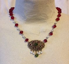 Red Green and Gold Necklace from Upcycled Vintage by heartsoftoday, $50.00