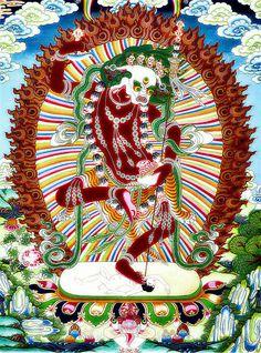 Red Wisdom-Dakini Simhamukha Vajrayana Buddhism, Thangka Painting, Eastern Philosophy, Clark Art, Wheel Of Life, Tibetan Art, Buddhist Art, Sacred Art, Deities