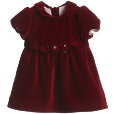Paesaggino Baby Girls Deep Red Velvet Dress at Childrensalon.com