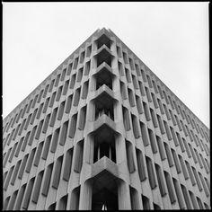 Beatriz Building, Madrid, Spain.  (Arch. Eleuterio Población Knappe, 1964-75)  Photo by Carlos Traspaderne with Hasselblad 500 C/M & Ilford film.