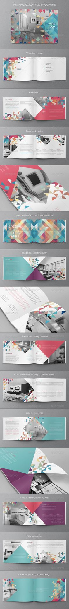 Buy Minimal Colorful Brochure by AbraDesign on GraphicRiver. MINIMAL COLORFUL BROCHURE This brochure is an ideal way to showcase your business in an original way. Layout Design, Graphisches Design, Print Layout, Print Design, Logo Design, Design Brochure, Booklet Design, Brochure Template, Design Graphique