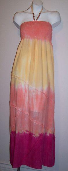 Peppermint Bay Dress M Tie Dyed Boho Hippy Summer Sundress Women's Size Medium #PeppermintBay #Sundress #Casual