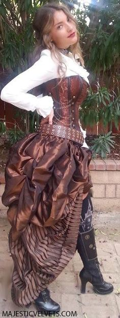 Black Steampunk Saloon Girl Corset with Double Bustle Skirt