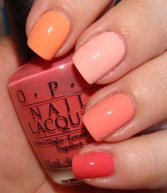 Essie Coral Peach, Essie Shop Til I Drop, OPI Peachaboo, Revlon Peach Petal love this i want this next