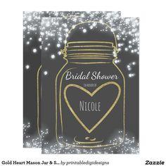 Gold Heart Mason Jar & Sparkle Lights ANY COLOR Card