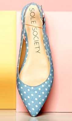 Darling baby blue slingback flats with white polka dots