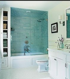 i like the idea of penny tiles underneath  our vanity shelf...like that bathroom inspiration picture we both liked...look for penny tile in matching color to shower tile?