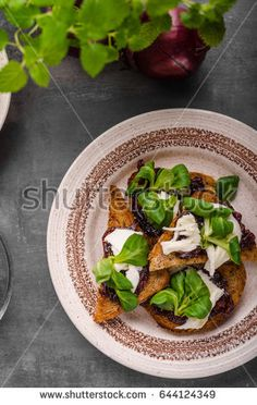 Delicious toast bio healthy food, caramelized onion, lettuce and mozzarella cheese