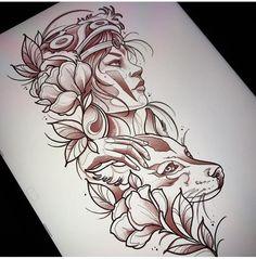 Animal face look. No woman in it, and change flowers to filigree. Tattoo Sketches, Tattoo Drawings, Body Art Tattoos, Sleeve Tattoos, Mononoke Anime, Mononoke Cosplay, Fuchs Tattoo, Ghibli Tattoo, Princess Tattoo