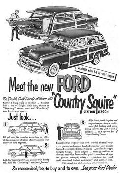 1949 Ford Country Squire station wagon ad
