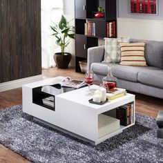 furniture of america horatio side shelf coffee table