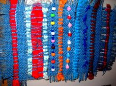 stitchery (could be combined with pulled threads from the burlap and considered weaving)--like the beads