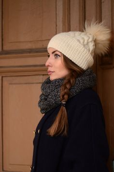 Hey, I found this really awesome Etsy listing at https://www.etsy.com/ru/listing/215839813/ivory-knit-hat-with-fur-pom-pom