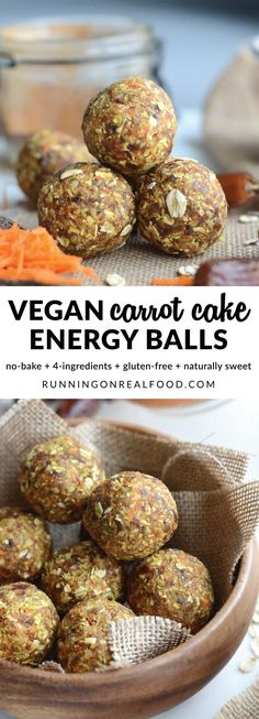 These delicious no-bake vegan carrot cake energy balls are sure to be your new favourite snack. Easy to make in minutes with just 4 ingredients plus cinnamon and sea salt. Nut-free oil-free no add (Gluten Free Recipes Bbq) Healthy Vegan Snacks, Vegan Desserts, Raw Food Recipes, Cooking Recipes, Healthy Recipes, Free Recipes, Dinner Healthy, Recipes Dinner, Energy Balls Nut Free