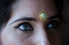 Unique solid silver gemstone bindi with solid white by KresnaDhana