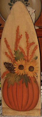 Primitive HP Folk Art Pumpkin Sunflowers Pine Cone Stretcher | eBay Painted Ironing Board, Old Ironing Boards, Painted Boards, Pallet Painting, Pallet Art, Tole Painting, Halloween Wood Crafts, Fall Crafts, Diy Crafts