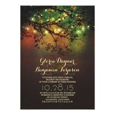 Shop Rustic tree branches purple string lights wedding invitation created by jinaiji. Rustic Bridal Shower Invitations, Country Wedding Invitations, Engagement Party Invitations, Bridal Shower Rustic, Rustic Wedding, Light Wedding, Wedding Stationery, Wedding Ideas, Rustic Rehearsal Dinners